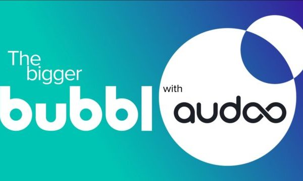 bubble and audoo logos on blue green background